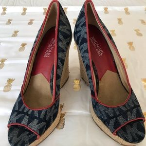 Michael Kors Denim Logo Wedges, Size 7.5